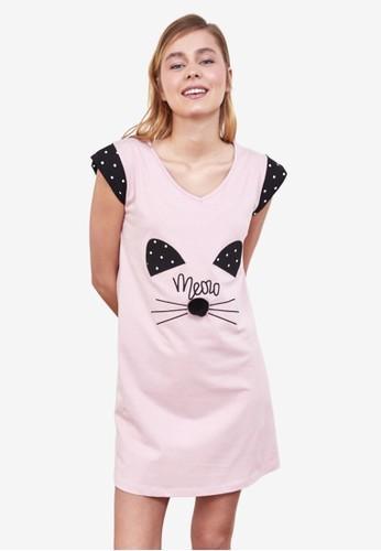 Trendyol pink Printed Nightgown F3CFCAAE537D01GS_1