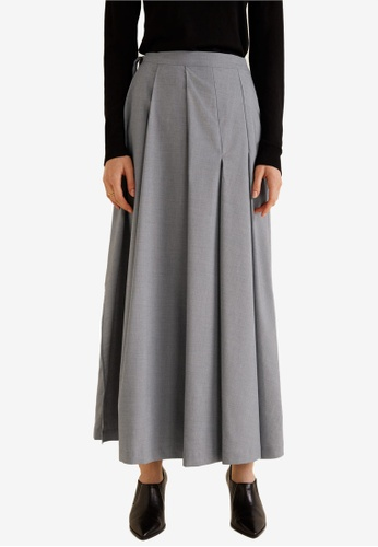 Mango grey Pleated Long Skirt EFD96AA7AFFD80GS_1