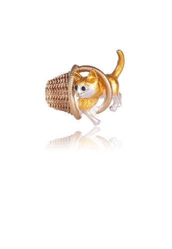 Glamorousky silver Fashion Cute Golden Cat Basket Brooch DA01FAC3BEC7E6GS_1