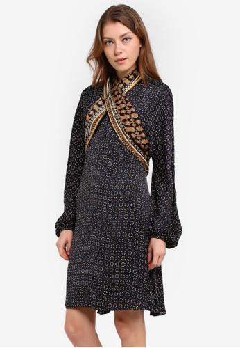 Max Studio navy Woven Printed Dress MA703AA0RQ8ZMY_1