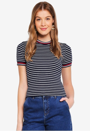 ONLY blue Lou Short Sleeve Stripe Top BC973AAE693796GS_1