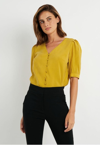 FORCAST yellow FORCAST Bree Button -Up Blouse 47608AA8CED74EGS_1