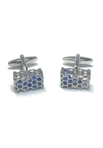 Splice Cufflinks Honeycomb Blue Crystal Basket Cufflinks SP744AC20ABVSG_1