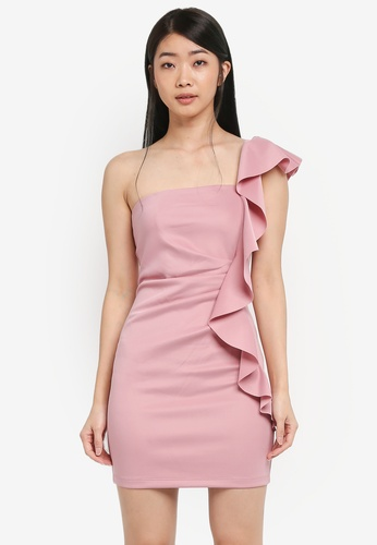 Miss Selfridge pink CNY Scuba One Shoulder Dress 29E72AA123E9AEGS_1