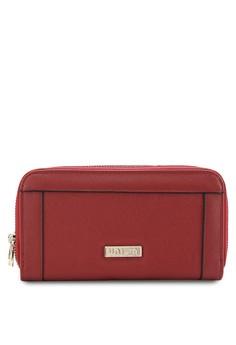 Saffiano Contrast Edge Ladies Double Zip-Up Clutch Wallet