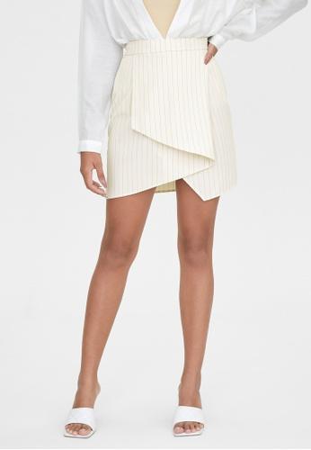 Pomelo beige Asymmetric Basic A Line Skirt - Cream 192B0AA1F66D99GS_1