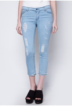 Skinny Jeans With Knee Distress