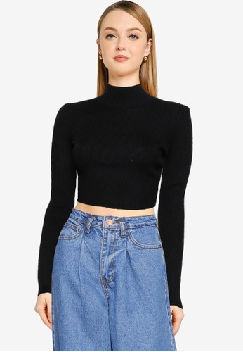 MISSGUIDED black High Neck Rib Detail Knitted Crop Top 98D11AAED7B923GS_1