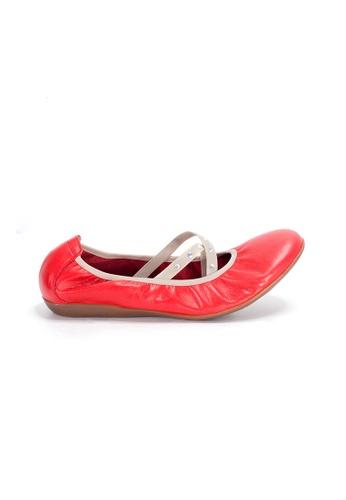 Shu Talk 紅色 WONDERS 交叉絲帶柔軟鞋墊芭蕾舞平底鞋 96AD5SH623A700GS_1