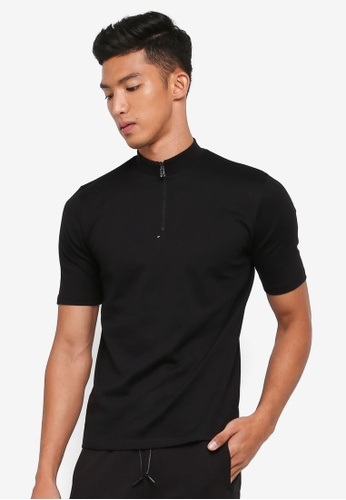 AT TWENTY black Half-zipped Mockneck Tee 1AC44AAEDE2C9DGS_1