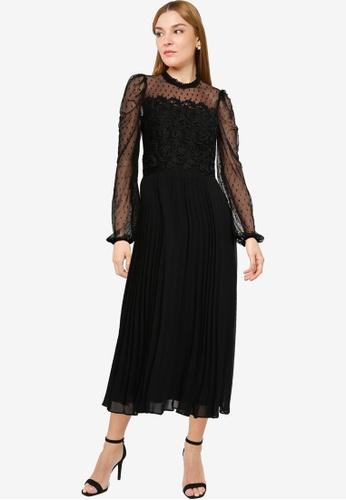 Dorothy Perkins black Black Mesh Lace Midi Dress B7914AAD4B7212GS_1
