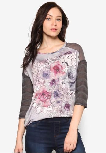 Margzalora時尚購物網評價arit 印花拼接七分袖TEE, 服飾, 上衣