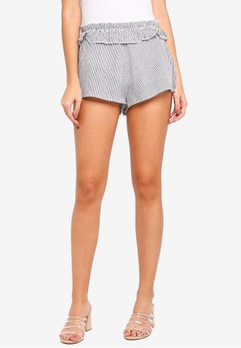 TOPSHOP black Shirred Stripe Shorts 5D10BAA31C5613GS_1