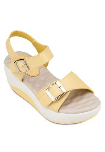 繞踝撞色厚底涼鞋, 女鞋, 楔形zalora 台灣門市涼鞋