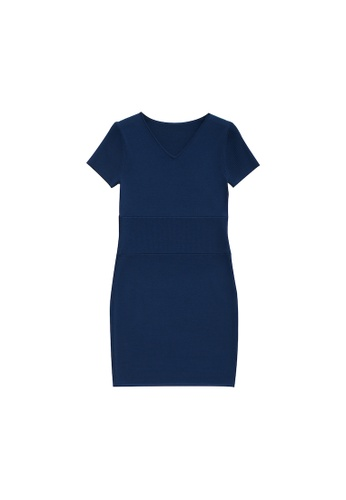 KLAPS 藍色 V領淨色針織連身短裙 6B5A7AAD77E2C8GS_1