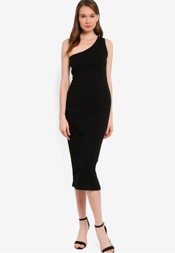 Banana Republic black One Shoulder Knit Rib Sheath Dress 9273BAA96E2224GS_1