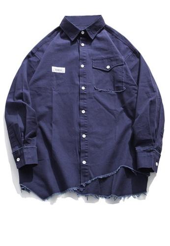 Twenty Eight Shoes Loose-Fitting Torn Hem Long Shirt HH0781 CB82FAAF7DBCDCGS_1