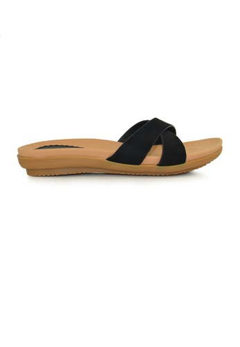 SHINE black Buckle Slide Sandals SH554SH0FUD0SG_1
