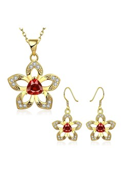 S496-A Plated Flower Pendant Necklace Earrings Set Zircon Inlayed Jewellery Set