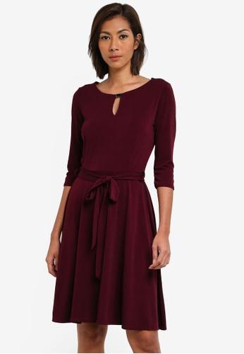 Wallis red Berry Keyhole Detail Fit And Flare Dress WA800AA0SACRMY_1