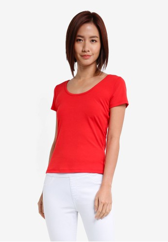 ZALORA red Scoopneck Tee With Back Straps D2953AADBCD1BCGS_1