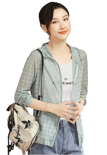 A-IN GIRLS 綠色 時尚格紋連帽外套 BCC80AA08DA4F1GS_1