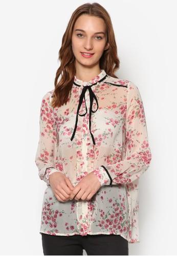荷葉立領繫帶印花襯esprit暢貨中心衫, 服飾, 上衣