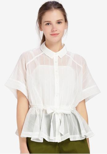 Hopeshow white Semi Sheer Loose Fit Button Blouse AE75CAA903E730GS_1