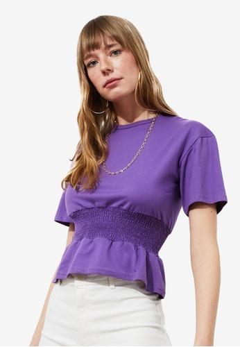 Trendyol purple Shirred Waist Knit Top A7212AA3B56FF7GS_1