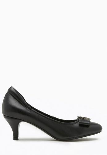PAZZION black Square Toe Buckle Bow Heels 3E7C9SHFFF0D5CGS_1