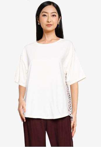 GLOBAL WORK white Contrast Print Knit T-Shirt 309E2AAF5B2CAFGS_1