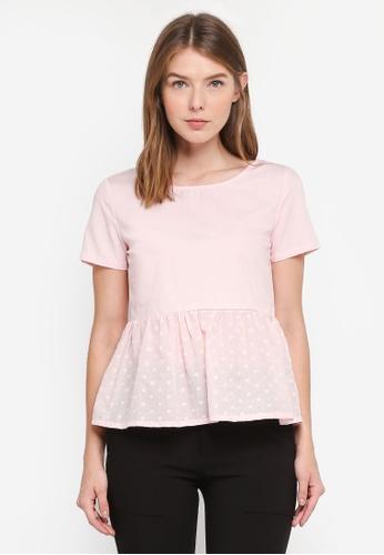 OVS pink Short Sleeve Peplum Blouse C2D87AA3BAA674GS_1