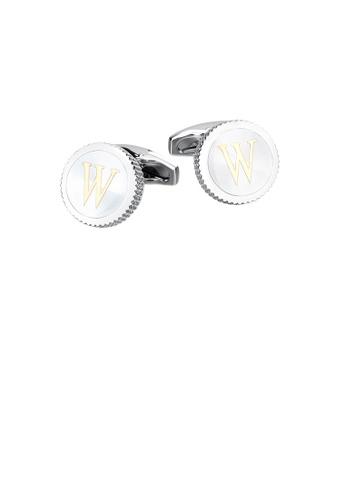 Glamorousky 銀色 時尚簡約英文字母W圓形袖扣 A62B8AC5299DFBGS_1