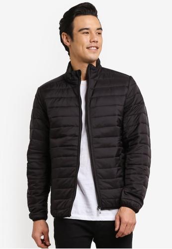 Burton Menswear London black Black Funnel Neck Puffer Jacket BU964AA0RH8UMY_1