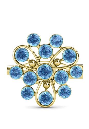Her Jewellery blue and gold Vanda Brooch (Aquamarine) - Made with premium grade crystals from Austria D35E6ACA7788C8GS_1