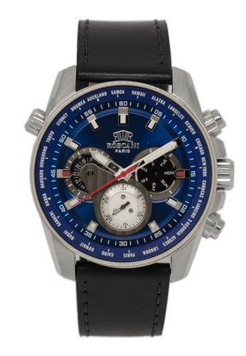 Roscani black Roscani Chase 986 (Multifunction + WR 5ATM) Stainless Steel Blue Leather Men Watch 7F0D0ACFFC19B8GS_1