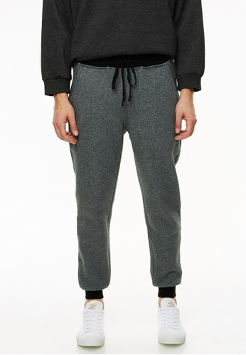 Life8 grey Casual Cotton Sweat Pants Cuffed Tapered Fit-Grey-02426 D5C62AAFA9CF88GS_1