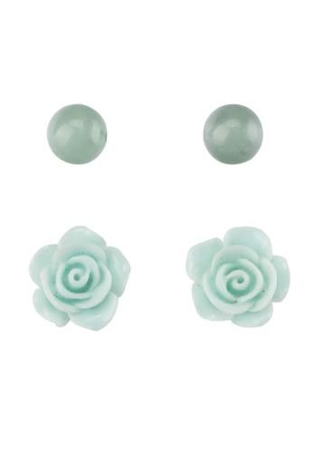 La Maison D'Evolette green Rosalinda Earrings with Aventurine Gemstone 613EEACF1D7E44GS_1