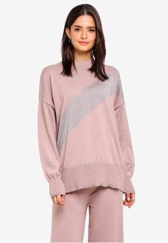 Zalia pink Metallic Panel Knitted Sweater 05635AA2D7EFBBGS_1