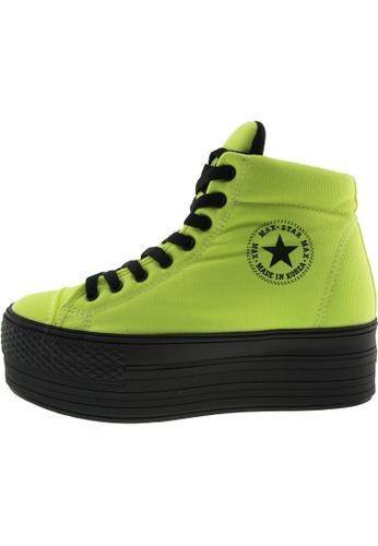 Maxstar 綠色 新款韩国鞋C50-Taller時尚帆布布混合女綠色 US Women Size MA345SH63GUQTW_1