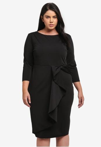 Goddiva black Plus Size Waterfall Peplum Quarter Sleeve Plus Size Midi Dress GO975AA0SSBDMY_1