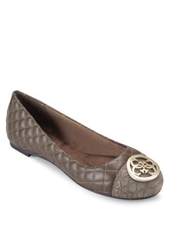 Quali zalora taiwan 時尚購物網鞋子扣環菱格紋軟襯平底鞋, 女鞋, 鞋