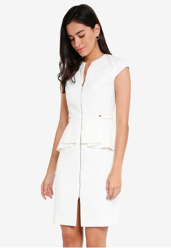 ZALORA white Origami Peplum Dress DF4F2AA954080BGS_1