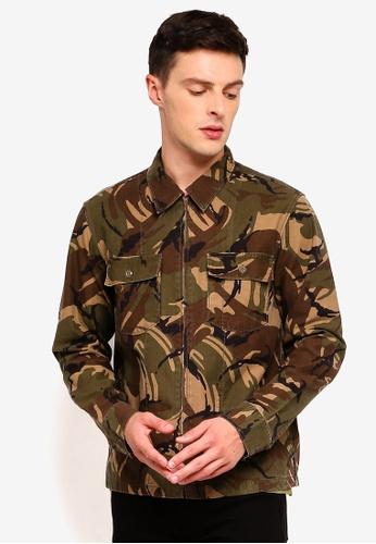 J.Crew 褐色 Camo Printed Seaside Twill Zip Jacket 1C0EEAA4EFC5BFGS_1