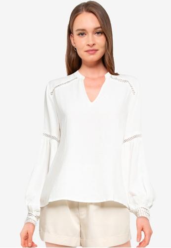 JACQUELINE DE YONG white Kriss Long Sleeve Lace Top 18F10AA539C1FBGS_1