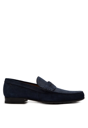 A. Testoni navy Men's Casual Dress Shoes Penny Loafers AT299SH0K4BWPH_1