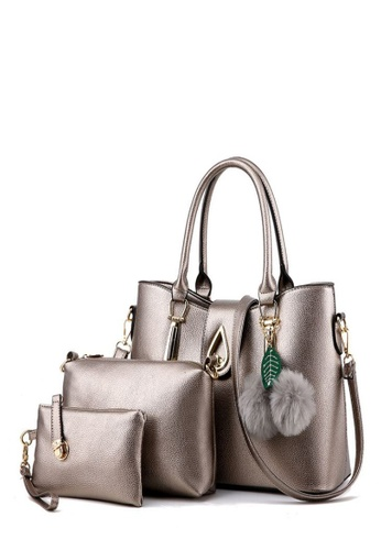 TCWK grey Set of 3pcs Ladies Handbag TC258AC0RFP5MY_1
