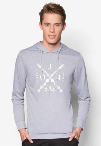 品牌尖頭印花連帽長袖衫, 服飾esprit hk outlet, 運動T恤