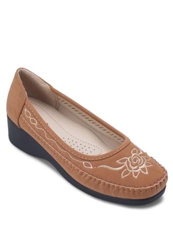 繡花厚底休閒鞋,esprit 包 女鞋, 厚底楔形鞋