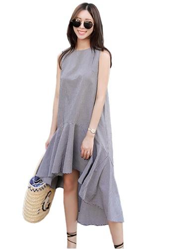 Sunnydaysweety multi Checked Dip-Hem One Piece Dress K20042805 494A4AA2FA449CGS_1